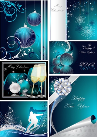 Merry Christmas and Happy New Year collection silver and blue Stock Vector - 10981709