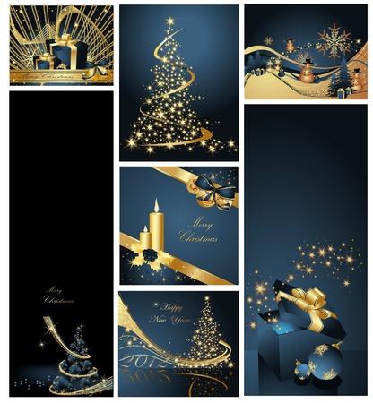 Merry Christmas achtergrond collecties goud en blauw