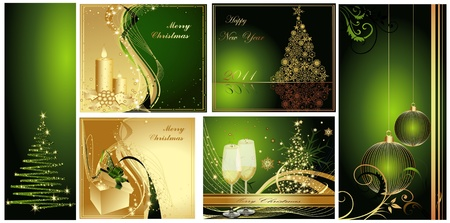 Merry Christmas background collections gold and green Vector