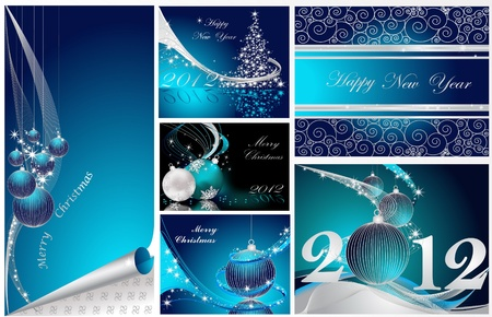 Merry Christmas and Happy New Year collection silver and blue Stock Vector - 11371645