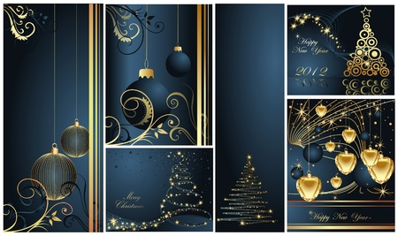 Merry Christmas and Happy New Year collection gold and blue Stock Vector - 11371643