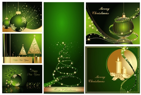 Merry Christmas and Happy New Year collection gold and green Stock Vector - 11371644