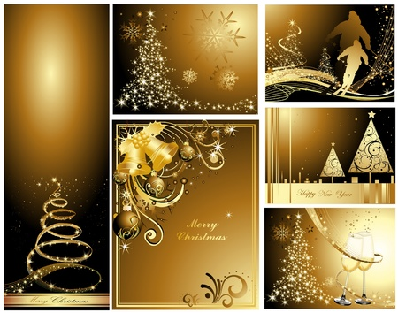 Gold Merry Christmas and Happy New Year collection  Vettoriali