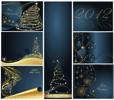 Merry Christmas and Happy New Year collection gold and blue Stock Vector - 11371652