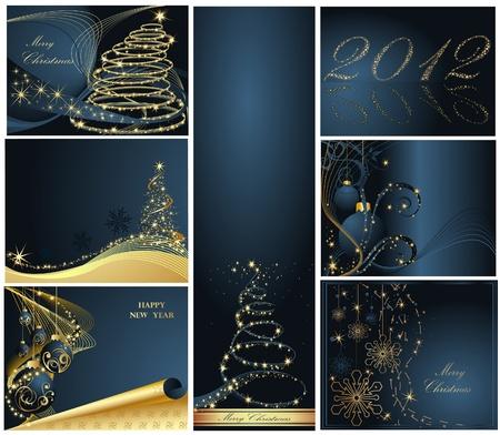 Prettige Kerstdagen en Gelukkig Nieuwjaar verzamelen goud en blauw