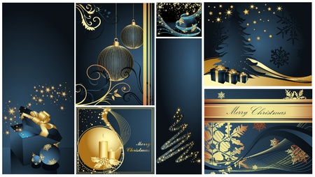 Merry Christmas and Happy New Year collection gold and blue Stock Vector - 11371657