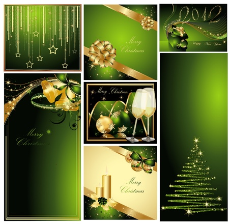 Merry Christmas and Happy New Year collection gold and green Vector