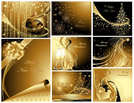 Gold Merry Christmas and Happy New Year collection Stock Vector - 11371660