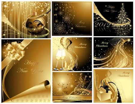 Gold Prettige Kerstdagen en Gelukkig Nieuwjaar collectie