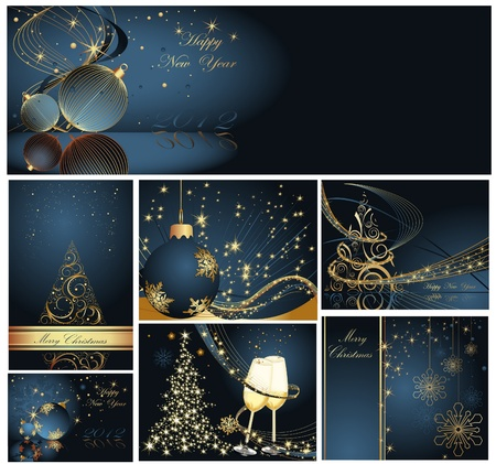 greeting card background: Merry Christmas and Happy New Year collection gold and blue Illustration