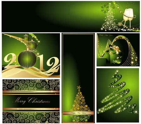 Merry Christmas and Happy New Year collection gold and green Stock Vector - 11371665