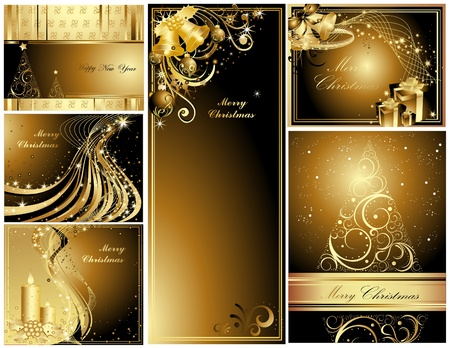 Gold Merry Christmas and Happy New Year collection  Illustration