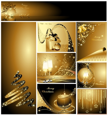 Gold Merry Christmas and Happy New Year collection  Stock Vector - 11674425