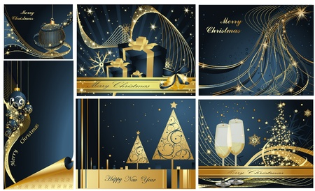 Merry Christmas and Happy New Year collection gold and blue Stock Vector - 11674252