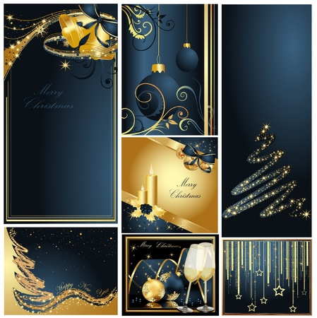 Merry Christmas and Happy New Year collection gold and blue Vettoriali