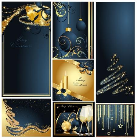 Prettige Kerstdagen en Gelukkig Nieuwjaar collectie goud en blauw