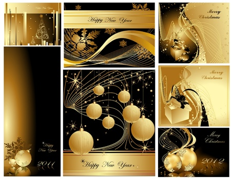 Gold Merry Christmas and Happy New Year collection Stock Vector - 11674250