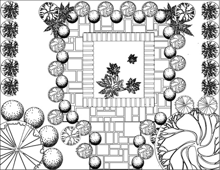 lawn furniture: Plan of garden with symbols of tree Illustration
