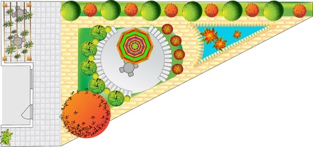 Plan of garden with symbols of tree Vector