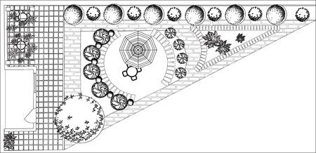 Plan d'un jardin avec des symboles de l'arbre