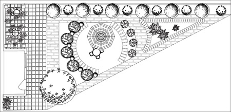 architect drawing: Plan of garden with symbols of tree Illustration