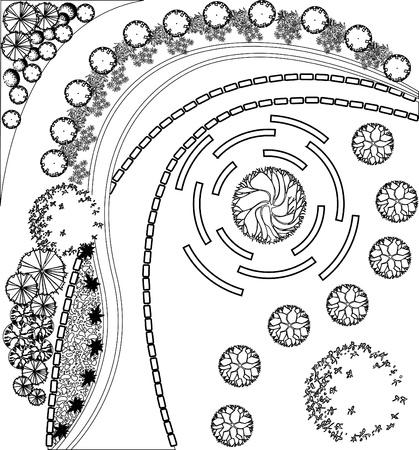 piano di progetto: Piano di giardino con i simboli di albero