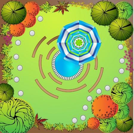 Plan van de tuin met symbolen van de boom Stock Illustratie