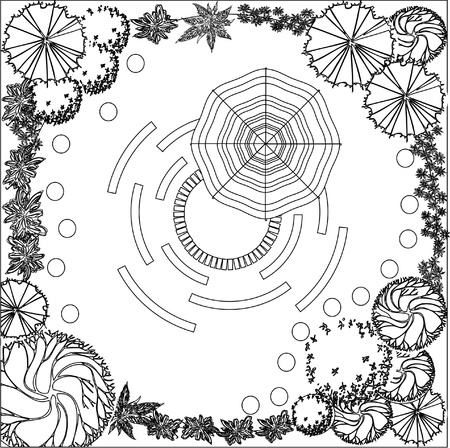 Plan of garden with symbols of tree Stock Vector - 12490401