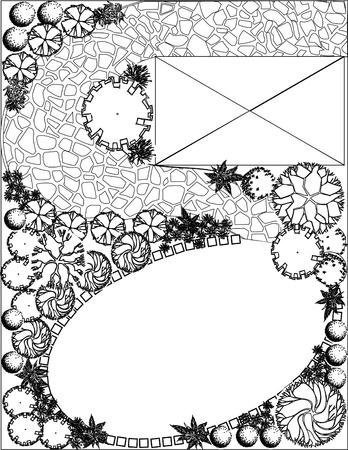 landscape gardener: Plan of garden with symbols of tree Illustration