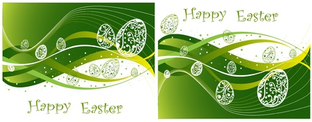 Green Happy Easter background collection Stock Vector - 12490425
