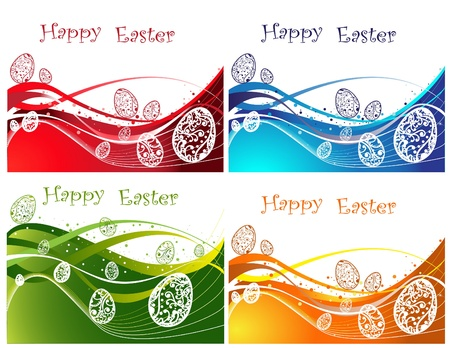 Happy Easter background collection, green, blue, orange and red  Stock Vector - 12490403
