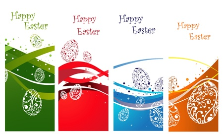 Happy Easter background collection, green, blue, orange and red Vector