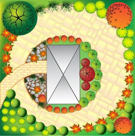 grass  plan: Plan of garden with plant symbols