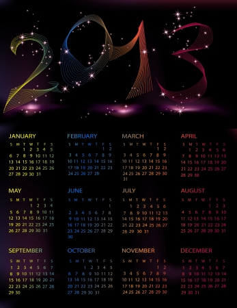 Calendar 2013 black and violet mesh Vector