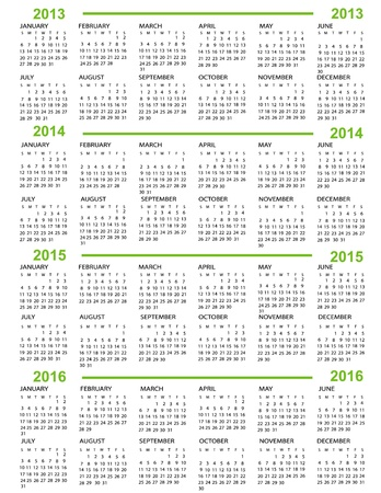 Calendar, New Year  2013, 2014, 2015, 2016 with green lines