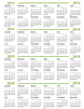 Kalender, Neujahr 2013, 2014, 2015, 2016 mit grünen Linien