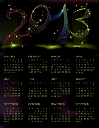 Calendar 2013 black and green mesh Stock Vector - 14982175