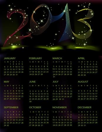 Calendar 2013 black and green mesh Vector