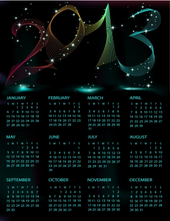 Calendar 2013 black and blue mesh Stock Vector - 14982174