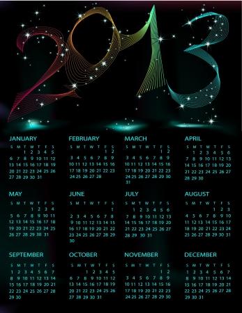 Calendar 2013 black and blue mesh Vector
