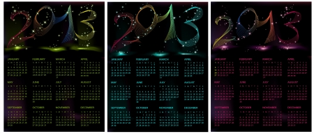 colection: Colection of Calendars  2013 green, blue and violet Illustration