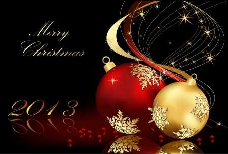 Merry Christmas  background gold and red Stock Vector - 16137013
