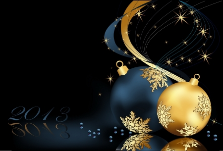 Christmas  background gold and blue Illustration