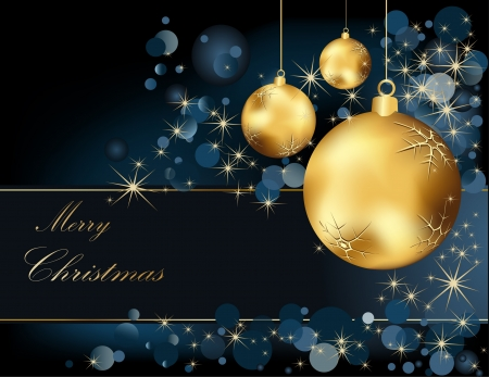 Christmas  background gold and blue Vector