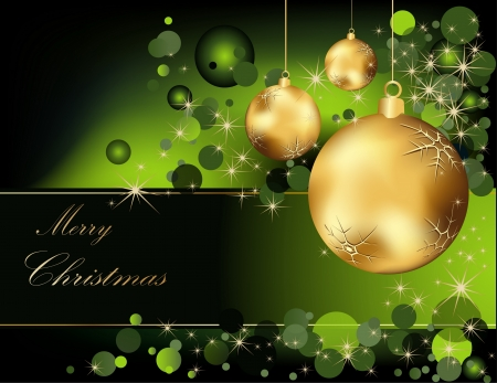 Christmas  background gold and green Vector