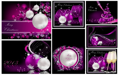 Merry Christmas background collections silver and violet Vector