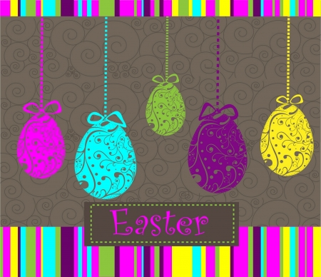 three object: Happy Easter background with eggs