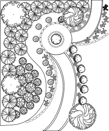 architect plans: Plan of garden with plant symbols black and white Illustration