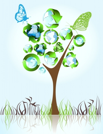 Eco, bio, green and recycle symbols on tree Vector