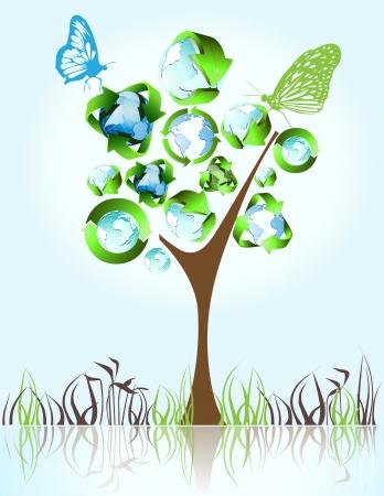 Eco, Bio-, Grün-und Recycling-Symbole auf Baum